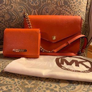 Michael Kors Small Leather Orange Shoulder Handbag